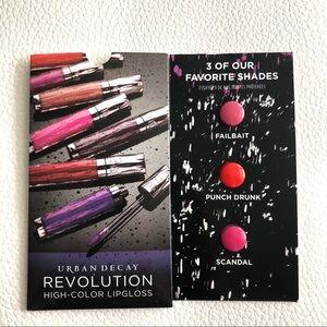 Urban Decay new Revolution Lipgloss 3shades Sample